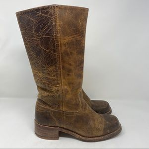 Frye Campus 14L Riding Saddle Boots Distress Sz 9